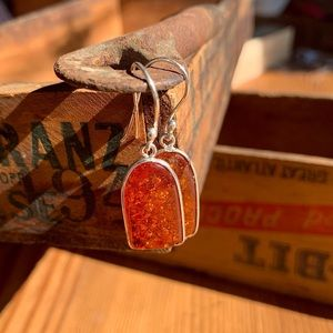 ✨ORANGE AMBER AGATE STERLING STIRRUP EARRINGS